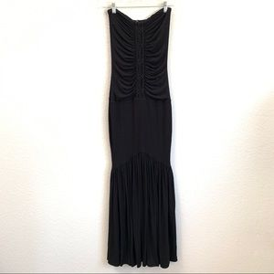 Sky Mermaid Maxi Dress Strapless Black